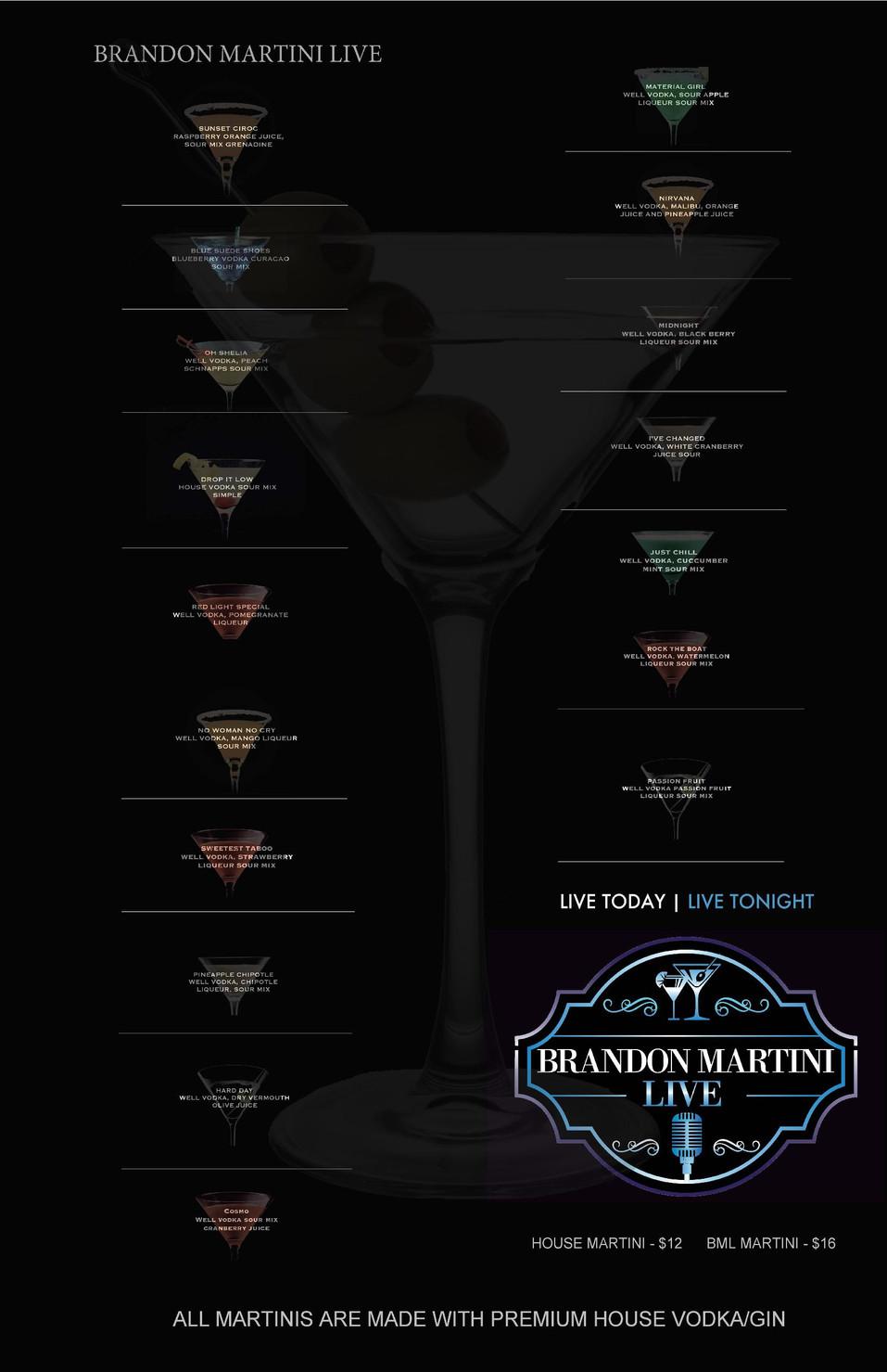 Brandon Martini Live Martini Menu