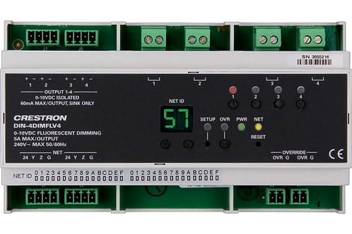 DIN-4DIMFLV4 Modulo dimmer per fluorescenti e Led