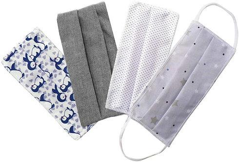 Masques en tissu, lot de 4, lavables et réutilisables - lot gris