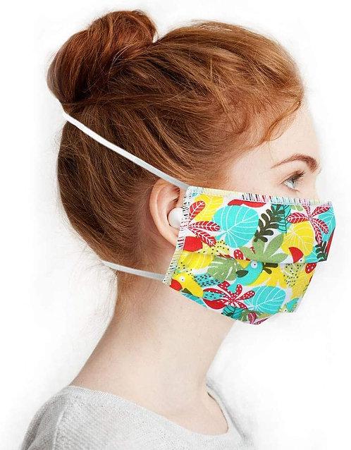 Masques en Tissus, Lot Tropical vert lavables et réutilisables