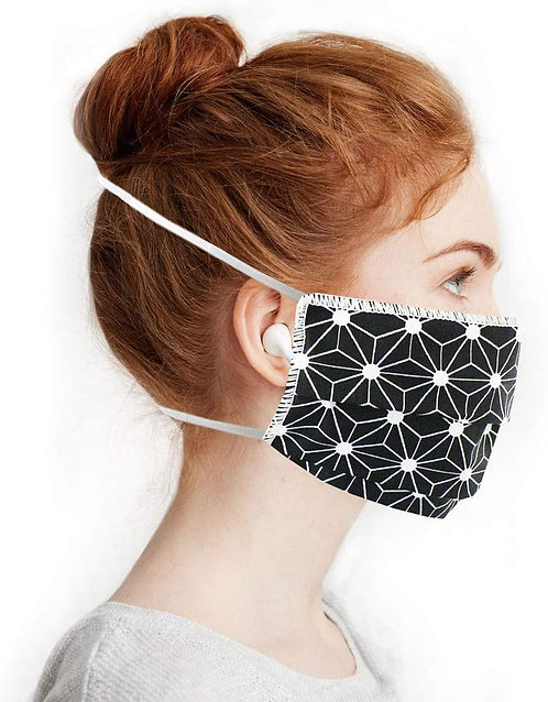 Masques en Tissus, Lot Géométrique noir lavables et réutilisables