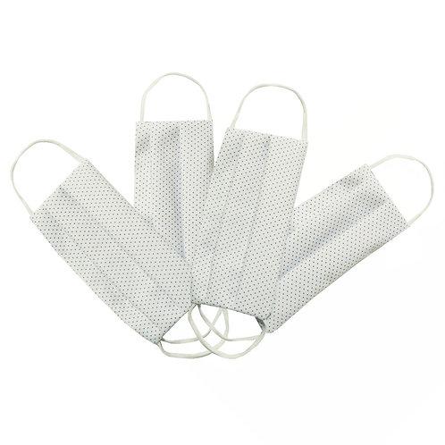 Masques en tissu, lot de 4, lavables et réutilisables - Pois Blanc