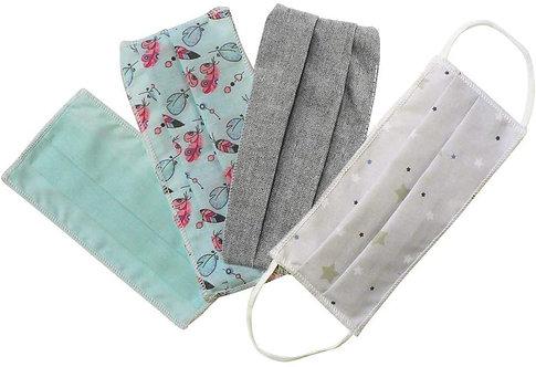Masques en tissu, lot de 4, lavables et réutilisables - lot bleu