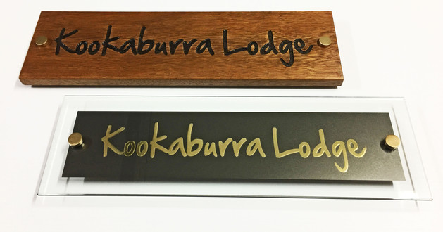 Solid Timber & Polished Glass Signs