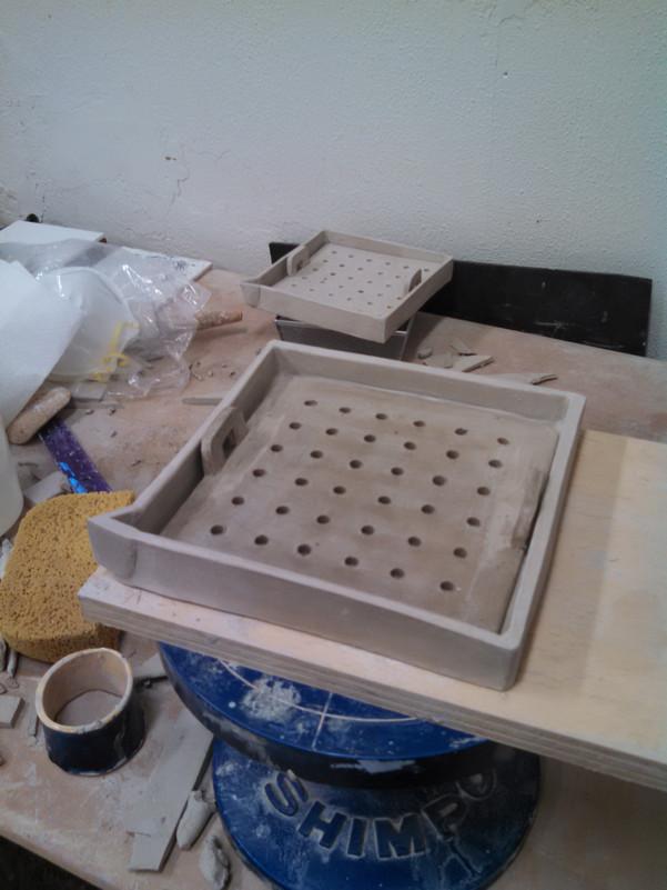 Trays in progress