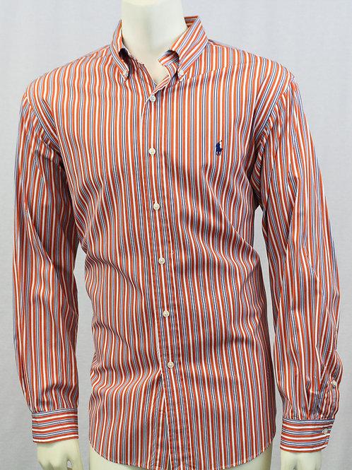 Ralph Lauren Long Sleeve Orange Stripe Sport Shirt XL