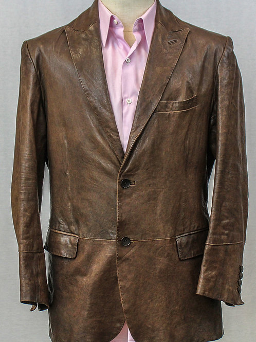 Theory Brown Leather Jacket Large