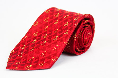 Ermenegildo Zegna Red Tie w/Gold Christmas Tree Theme