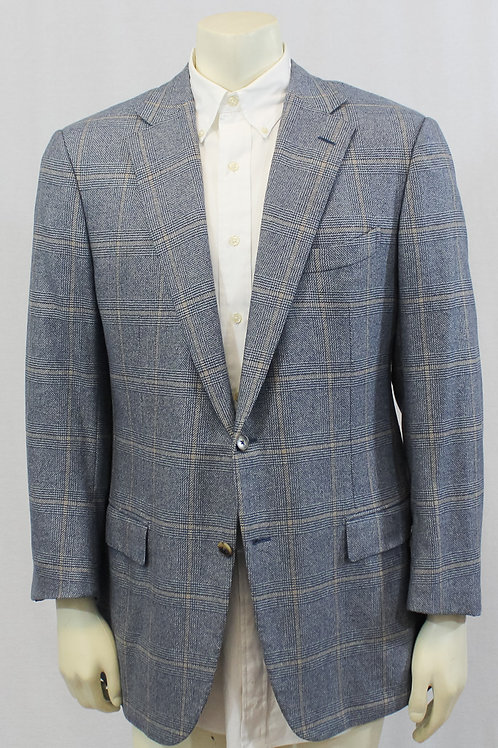 Ermenegildo Zegna Couture Cashmere Steel Blue Glen Plaid Sport Coat 44 Regular