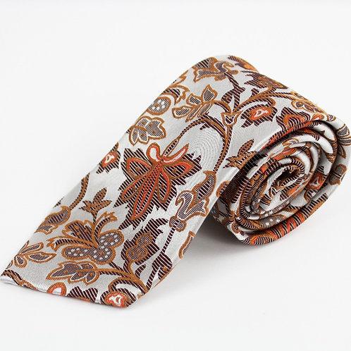 Emilio Ponti Grey and Orange Paisley Tie