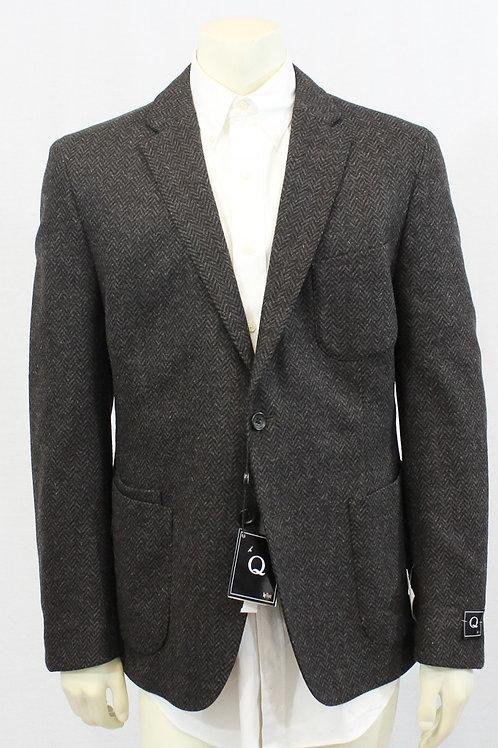 Q Flynt Brown Herringbone Sport Coat 44 Regular