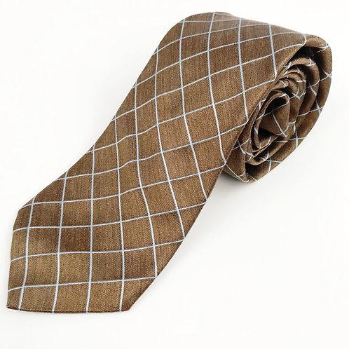 Ike Behar Bronze Check Silk Tie