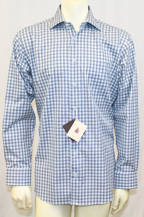 Robert Talbott ESTATE Blue Check Sport Shirt Medium