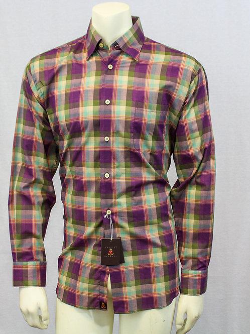 Robert Talbott Plaid Long Sleeve Sport Shirt Medium