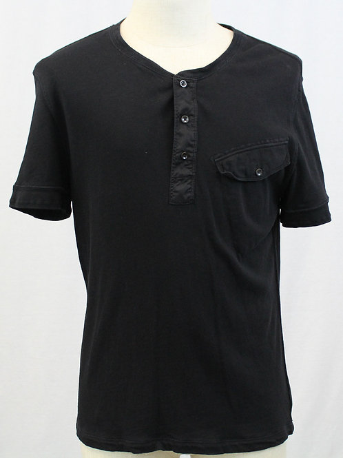 Ralph Lauren Short Sleeve 3 Button Black Henley Shirt Large