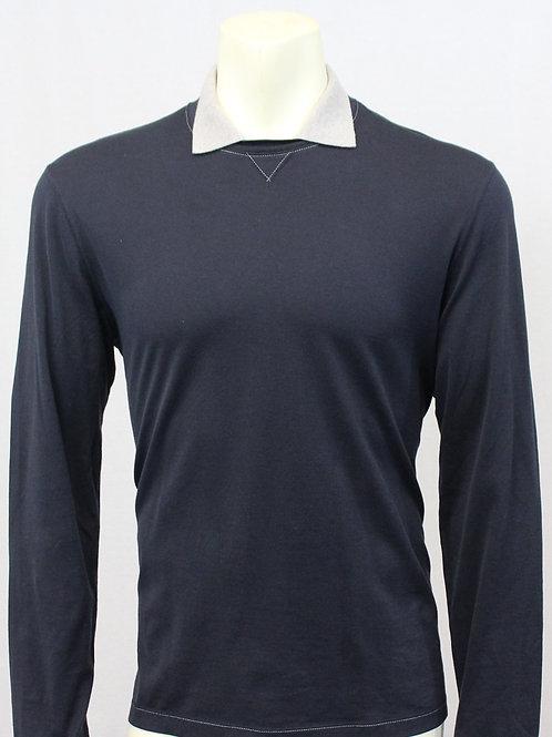 Brunello Cucinelli Navy Long Sleeve Shirt Small