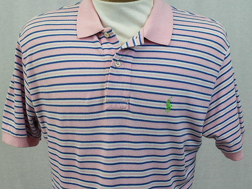 Ralph Lauren Pink and Blue Stripe Polo Medium