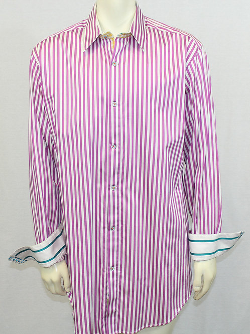 Robert Graham Purple Stripe Dress Shirt XLT