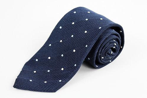 Ermenegildo Zegna Blue Knit Polka Dot Tie