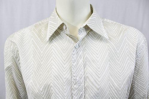 Armani Exchange Cream Herringbone Long Sleeve Shirt Large