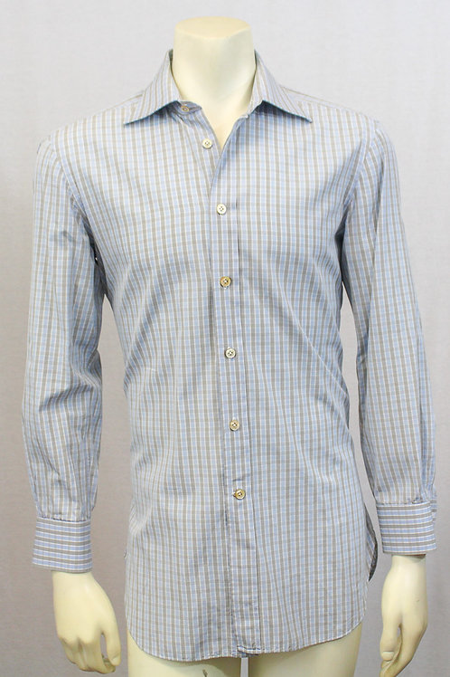 Kiton Dress Shirt Grey with Light Blue Check 16 X 34