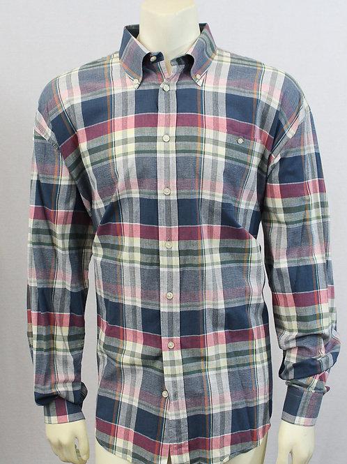 Hickey Freeman Long Sleeve Madras Plaid Shirt XXL