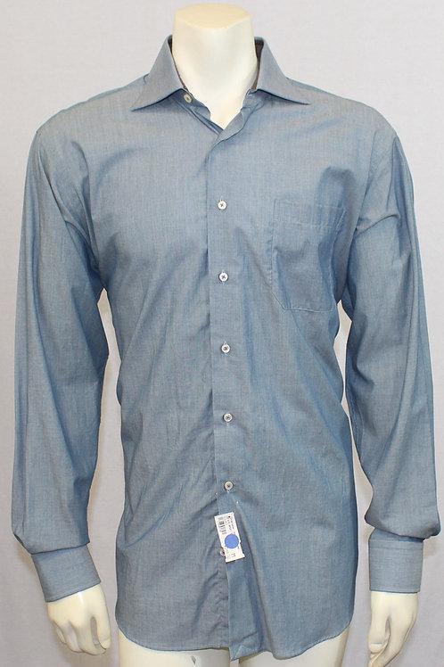 Robert Talbott Classic Estate Green Blue Solid Dress Shirt Medium