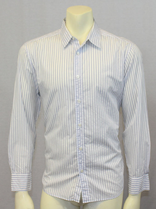Ermenegildo Zegna Blue Stripe Dress Shirt  Large 17.5 X 33