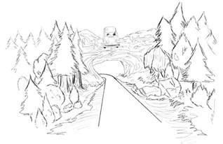 Quick rough storyboard for Universal Creative Orlando Hagrid's Magical Creatures Motorbike Adventure attraction. ™ & © Universal Studios
