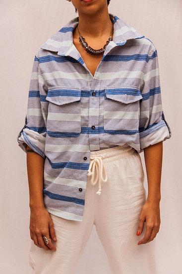 camisa nebulosa azul listrado