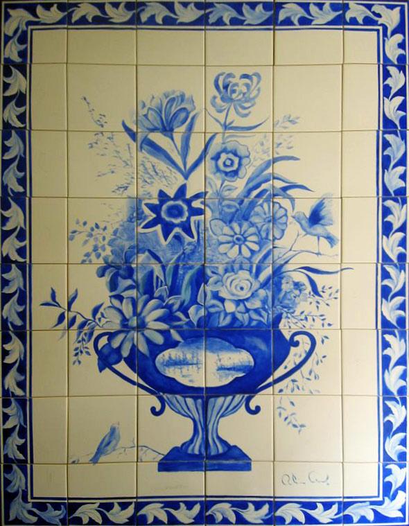 Painel em Azulejos vasoAzul