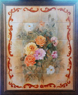 Rosas sobre Azulejos