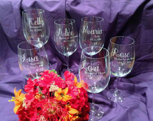 Wedding Party Personalized Wine Glasses | etchingbynicole