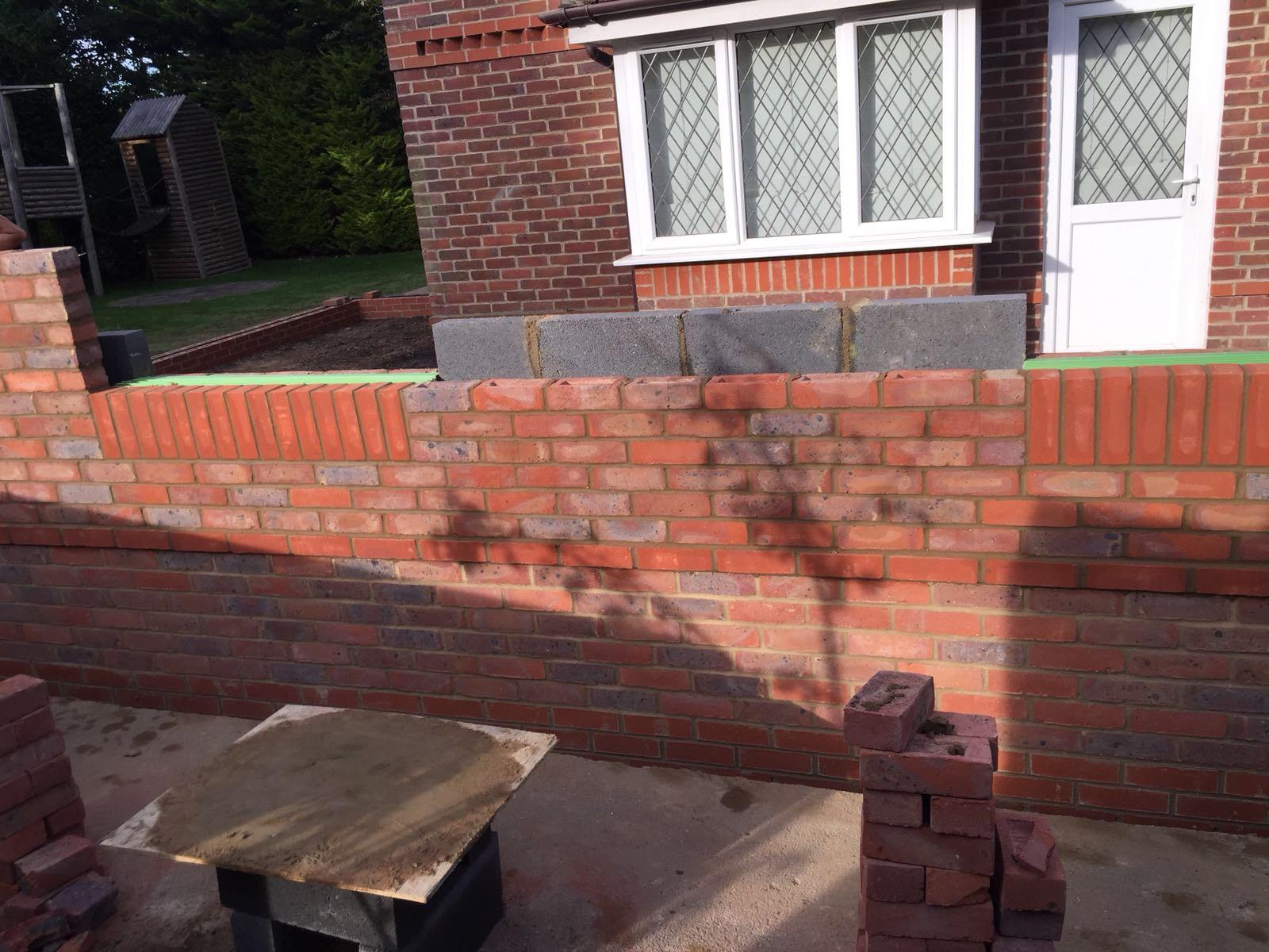 Front brick wall