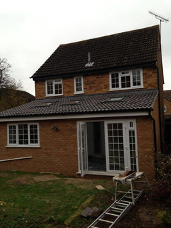 Extension with sky lights