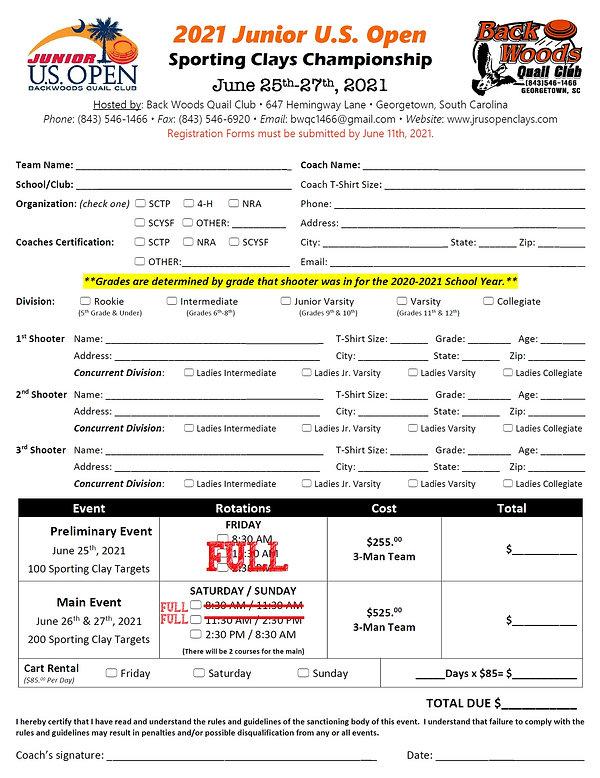 2021 Junior US Open Registration Form Up