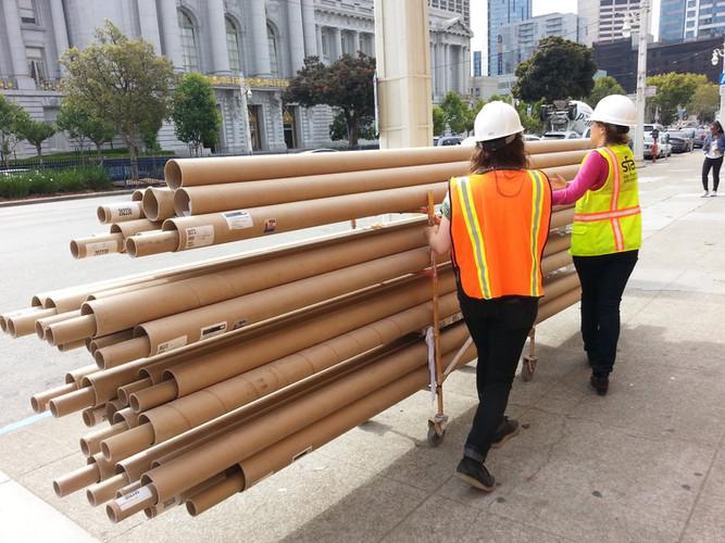 Transporting tubes to studio