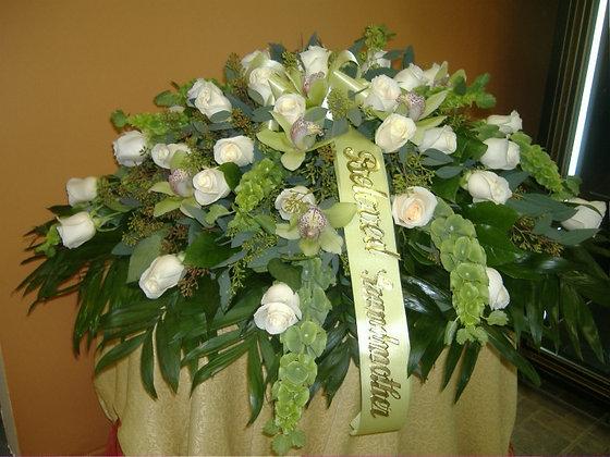 White Rose Casket Cover
