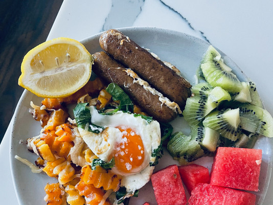 Micronutrient Rich Breakfast Plate (butternut squash, arugula, kiwi's, etc.)