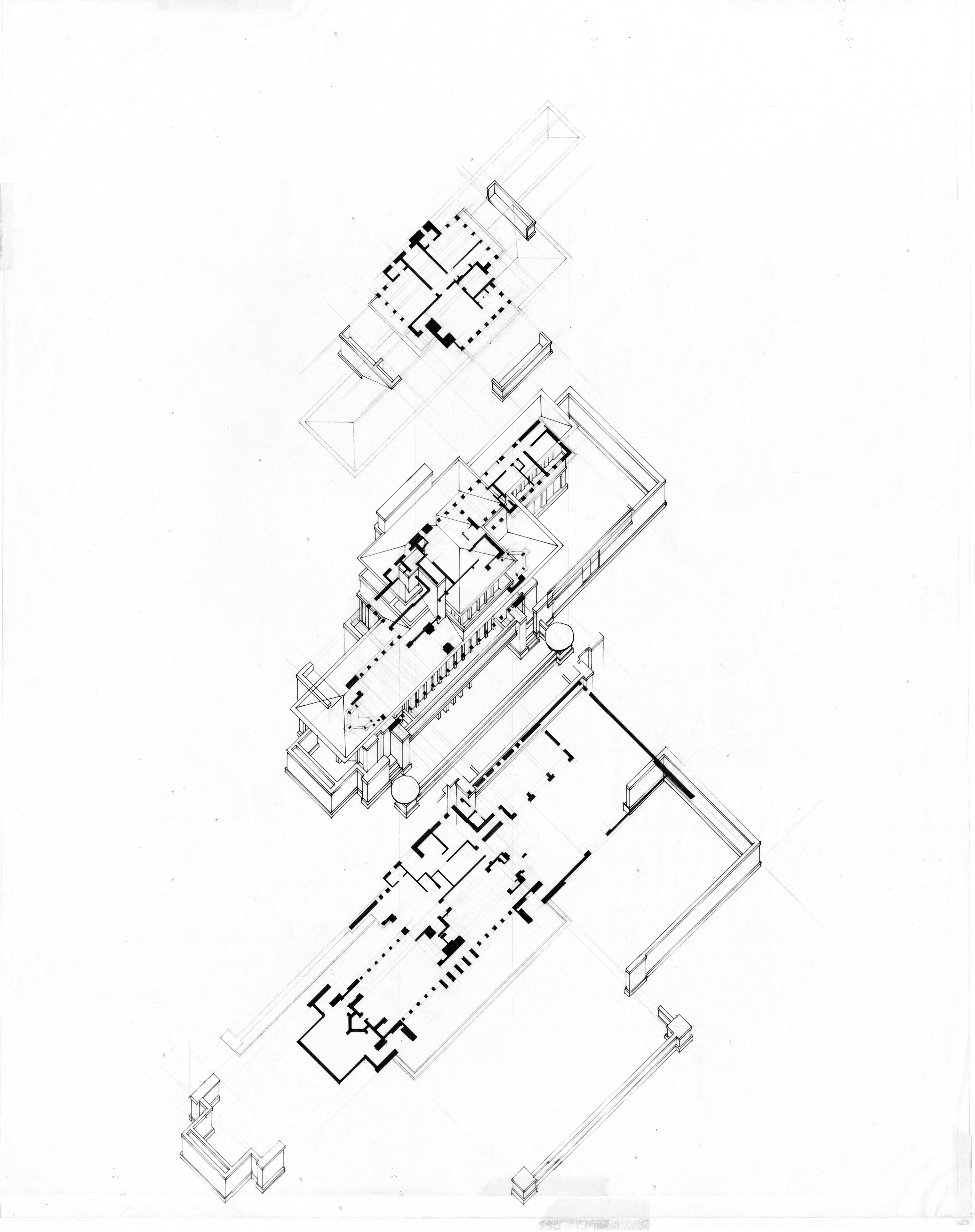layered axonometric drawing