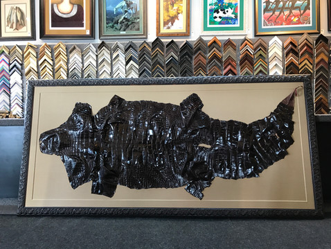 Antique Alligator Skin on Fabric Board