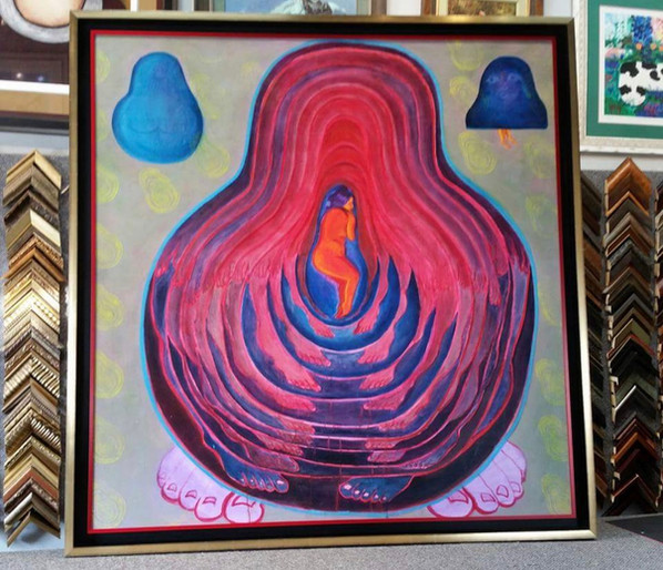 Large Painting in Floater Frame