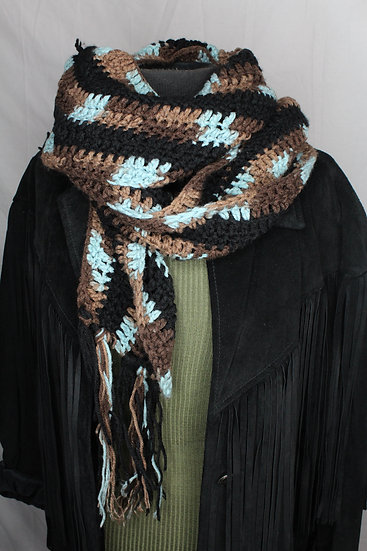 Cotton Chocolate Knitted Scarf