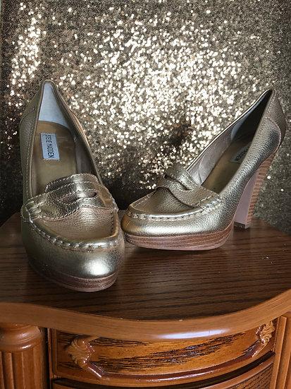 Gold Penny Wooden Heels