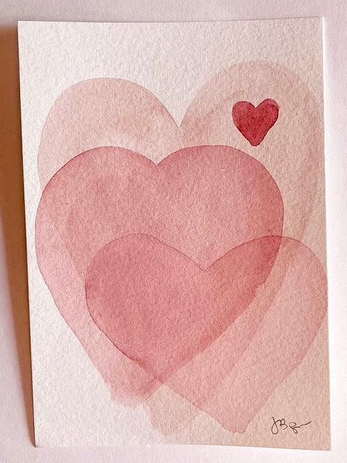 Hand Painted Watercolor Card - Hearts