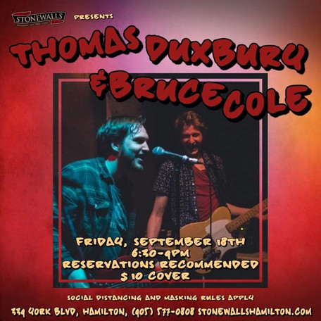COMING UP: Thomas Duxbury & Bruce Cole @ Stonewalls