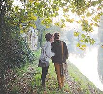 intimate couple walking