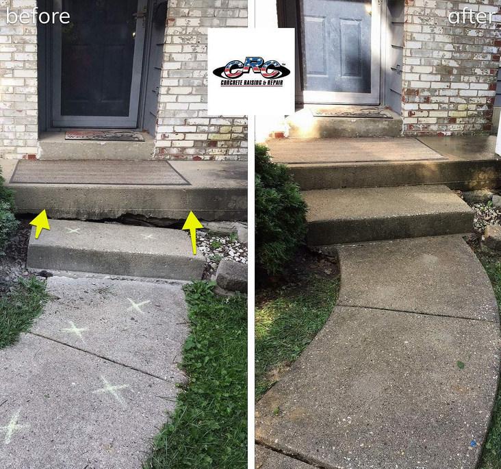 Eliminating Tripping Hazard by Raising Concrete Step and Sidewalk