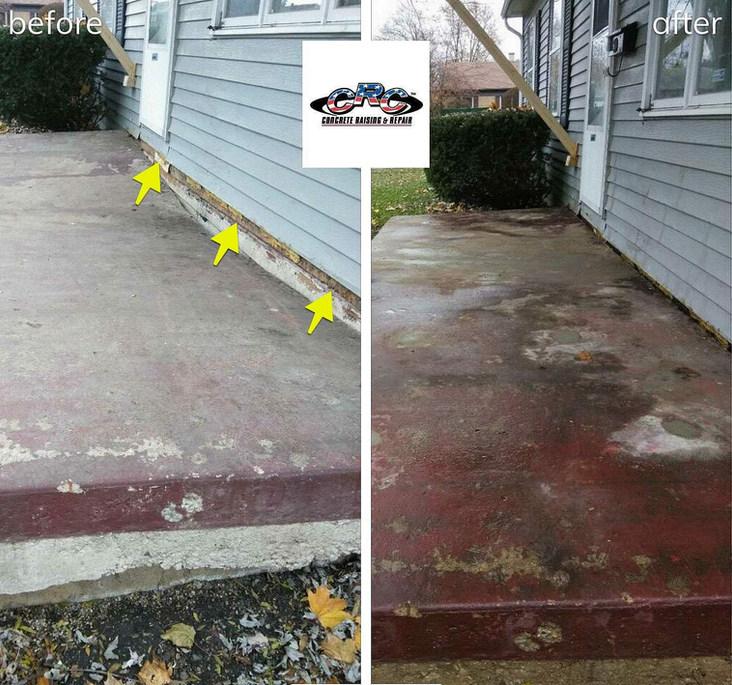 Salvaging Concrete Stoop using CRC Concrete Raising Technology