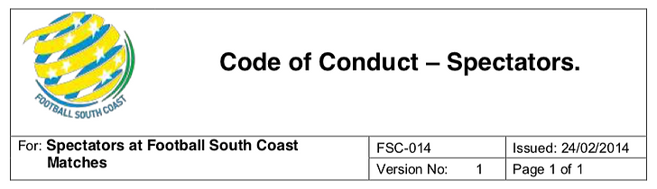 FSC Spectator Code of Conduct 2014